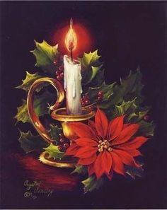 Christmas Candle, Holly and Poinsettia Christmas Scenes, Noel Christmas, Christmas Greetings, Winter Christmas, Christmas Crafts, Nordic Christmas, Merry Christmas Card, Christmas Costumes, Crochet Christmas