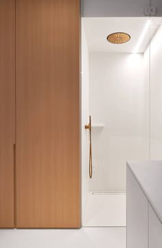 Bathroom - project by Minus in Haaltert Belgium - integrated Vola Shower Head in gold New Bathroom Designs, Shower Tile Designs, Baths Interior, Bathroom Interior Design, Gold Shower, Copper Shower Head, Copper Interior, Minimal Bathroom, Bathroom Toilets