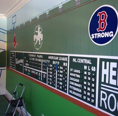 This WILL BE what the walls in my son's bedroom will look like! -Green Monster mural