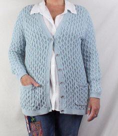 Lands End Cardigan Sweater L 14 16 size Blue Silver Metallic Vneck Pockets #LandsEnd #Cardigan