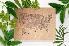 Botanical Edition 50 States  USA  CORK Foam Push Pin Map