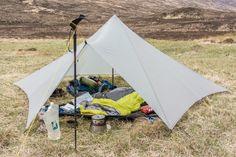 shelter, sleeping bag, sleeping mat and cooking gear