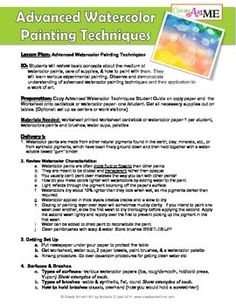 Acrylic Painting Techniques Lesson Plan  Worksheet  Updated