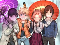 Sai, Naruto, Sakura, and Sasuke #umbrella #winterclothes