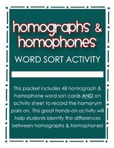Homographs & Homophones Word Sort Activity