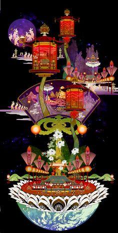 """Aya Kato, Japanese Art, Manga Style, """"Multi-Dimensional Travel"""" Illustration."""