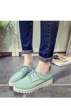 Mint Lace Up Casual Creepers