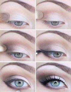 eye makeup - subtle smoky eye, winged liner, + false lashes