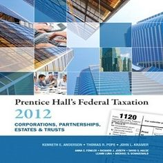 Want to recommend to you 68 Free Test Bank for Prentice Halls Federal Taxation 2012 Corporations Partnerships Estates and Trusts 25th Edition by Anderson multiple choice questions, which offers all chapters about the federal taxation that you can practice easily and get full understanding in this textbook.