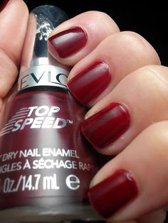 I love my Essie polishes, but sometimes I want to be able to do my nails in five minutes. (Revlon Top Speed in Forbidden)
