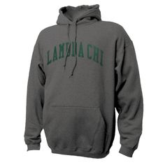 Lambda Chi Dark Heather Hoodie with Sewn On Letters