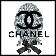 Chanel Logo in Front of Blingy Faberge Egg Chanel Background, Chanel Logo, Garage Design, Backgrounds, Logo Design, Black And White, Prints, Tattoo Ideas, Egg