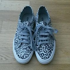 Superga 2750 Satin Leopard Sneakers Satin animal print lace up sneakers by Supega. Gray and black animal print with gray laces. Worn once. Euro size 38 but fits more like a women's size 7.5). Open to negotiating and bundling. Superga Shoes Sneakers