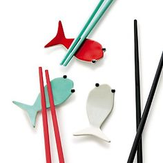 Fish Aqua Chopstick Rest in Paola Navone Fish Chopstick Holder, Chopstick Rest, Crate And Barrel, Paola Navone, Sushi Set, Fish Shapes, Toy Kitchen, Chopsticks, Products