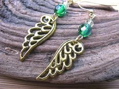Green and Clear Crystal Open Filigree Angel Wing by joyaslindas3, $14.99