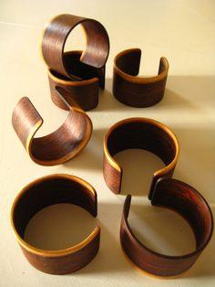 Wood Bracelet Cuff Bangle Rosewood. $26.00, via Etsy.