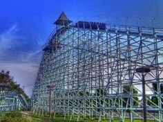 Blue Streak at Cedar Point.  This was built in the '60's and is still super scary because it goes so fast!