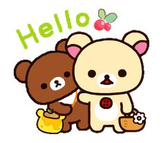LINE Official Stickers - Rilakkuma~Korilakkuma with a new friend~ Example with GIF Animation Hi Quotes, Smiley Quotes, Rilakkuma Wallpaper, Gifs, Line Friends, Forest Friends, Owl Art, Line Sticker, Cute Bears