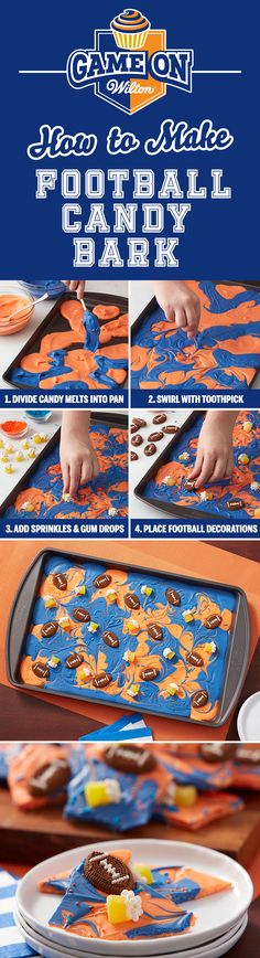 How to Make Football Candy Bark - Learn how to make this Football Candy Melts Candy Bark! Choose from the vast assortment of Wilton's Candy Melts candy to customize and fit your team colors! Make it for a youth football treat, or impress the guests at your big game party.