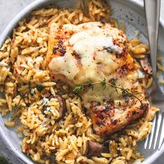 Slow cooker parmesan herb chicken & orzo is an easy, no-fuss crockpot meal with hearty flavors that will please the whole family.
