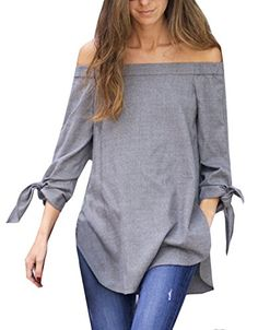 Women's Long Sleeve Off The Shoulder Knotted Blouse (XS, ...
