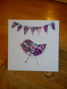 Hand made, stitched Liberty fabric card