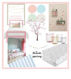"""spring kids room"" by rehannah-o ❤ liked on Polyvore featuring interior, interiors, interior design, home, home decor, interior decorating, ferm LIVING, WALL, DwellStudio and Blue Area"