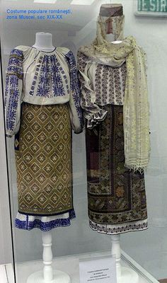 Traditional Romanian Folk Costume from Southern Romania, an area called Muscel, county of Arges. - love the different patterns together