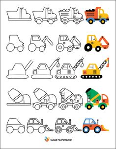 How to draw with shapes printable with a dump truck, front loader, and cement mixer. Easy Drawings For Kids, Drawing For Kids, Art For Kids, Crafts For Kids, How To Draw Kids, Truck Coloring Pages, Colouring Pages, Coloring Books, Doodle Drawings