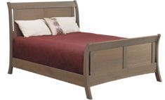 American Review Sleigh Bed | The beauty of a sleigh bed in a streamlined style | Shown in Quartersawn White Oak, Green Tea Stain