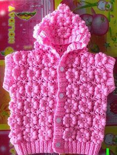 """Delicadezas en crochet Gabriela: Chaleco con capucha para las niñas con flores simil tres """"D"""""""