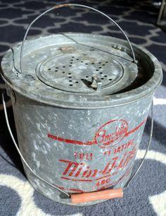 Vintage Bait Bucket Metal Old Minnow Bucket Green Bucket Metal Bucket