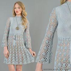 Vtg 60s Hand Crochet Cutout Scallop Bell Sleeve Hippy Boho Sheer Lace Mini Dress | eBay