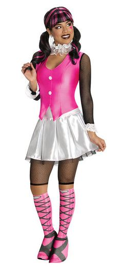 Adult Costumes - This womens Deluxe Draculaura Costume from Monster High includes the shirt with attached vest, skirt, leggings and also the boot tops. Draculaura Halloween Costume, Costumes Sexy Halloween, Vampire Costumes, Adult Costumes, Costumes For Women, Buy Costumes, Cartoon Costumes, Halloween Tricks, Halloween Stuff