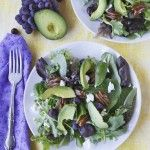 mixed greens with grapes, goat cheese, avocado & candied pecans