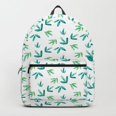 a watercolor leaves in pattern style. Art Bag, Watercolor Leaves, Green Leaves, Pattern Fashion, Cool Stuff, Stuff To Buy, Fashion Backpack, Cool Art, Backpacks