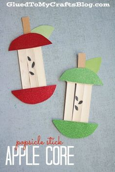 Popsicle Stick Apple Core Kid Craft is part of Kids Crafts For Girls - This Popsicle Stick Apple Core Kid Craft idea has a backtoschool theme, as well as a fall theme it's never too early to plan! Kids Crafts, Daycare Crafts, Fall Crafts For Kids, Classroom Crafts, Glue Crafts, Summer Crafts, Craft Stick Crafts, Art For Kids, Arts And Crafts