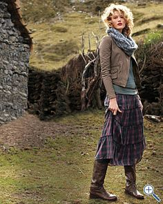 Yes, here she is, the model whose hair I adore, in a landscape that I'll call Scotland, wearing a fantastic jacket, scarf & skirt.
