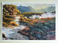 Vivid and full of artistic atmosphere. Then install Jagged accessory on the painting. Nature Paintings, Beautiful Paintings, Landscape Paintings, Wall Decor, Wall Art, Gouache Painting, Original Paintings, My Arts, Hand Painted