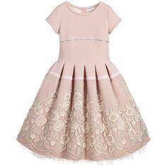 Monnalisa Couture - Dusky Pink Neoprene & Tulle Embroidered Dress | Childrensalon