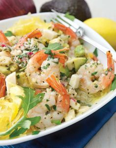 "Double Click Slowly on Pic for Recipe....Low Carb Anaheim Shrimp Scampi over Spaghetti Squash ... by George Stella ...visit us at ""Low Carbing Among Friends"" on Facebook"