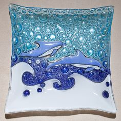 Fused Glass Wall Plate | Dolphin