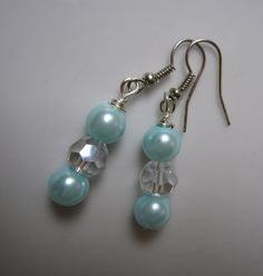 Faye Bridal Pearl Earrings Aqua Pearl & Crystal by ScarlettRose. $12.00, via Etsy.