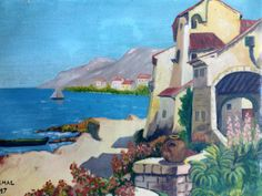 Village in the Riviera (M. Smal, 1947) - beautiful oil-on-wood painting. Love the blue! $240