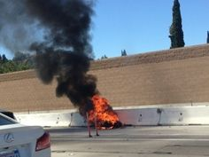 Motorcycle Catches Fire on 405 Freeway Near the 101