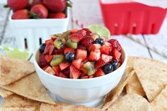 Delicious fruit salsa with easy and delicious cinnamon chips - the perfect healthy snack to satisfy your sweet tooth! This fruit salsa is out of this world!