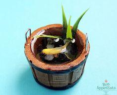 Handmade Miniature Barrel Pond with Gold Koi Fish, Decorative Miniature Koi Pond