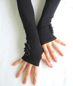 Mitaines noires bras bras noir mitaines gants sans par GoToBoutique