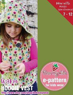 Warm Hoodie Vest Junior Size PDF Patterns Age 7 to by dmkeasywear, $7.00