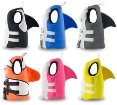 The most awesome children's life vests and swim vests...with shark fins on the back! Our kids are totally in love.